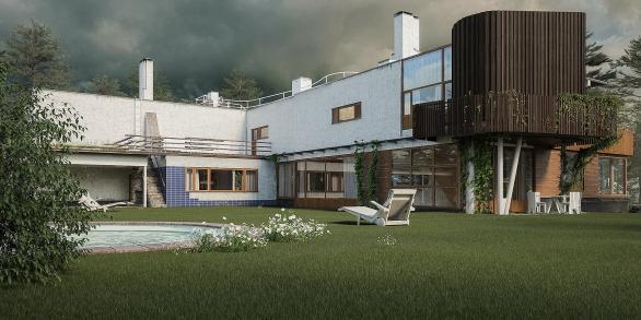 Villa Mairea / vista del giardino con piscina
